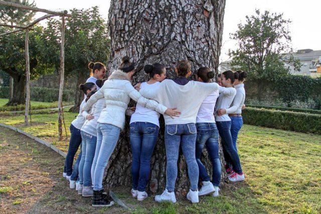 L'abbraccio al Pino delle Canarie di Villa Ravaschieri, eletto albero dell'anno 2014 (fotografia di Giampaolo molinari / studio molinari - noocleo associato)