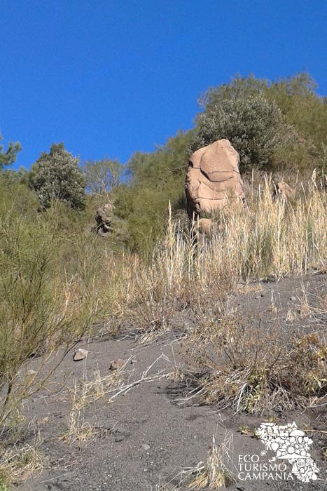 Uno dei dicchi lavici della Valle dell'Inferno sul Vesuvio (ph Umberto Saetta)