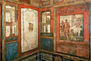 Gli affresci della Case dei Vettii negli scavi di Pompei