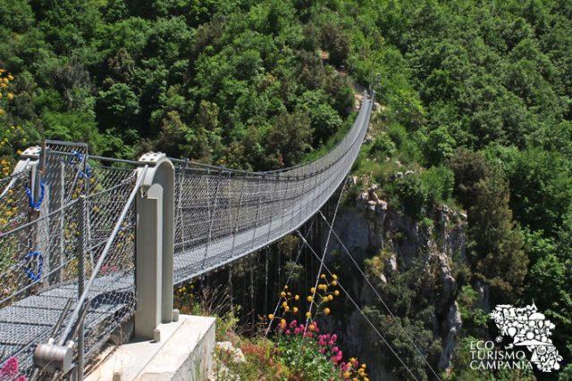 Prospettiva laterale del ponte tibetano di Laviano (ph Gianfranco Adduci)