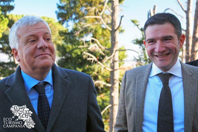 Il ministro dell'ambiente Galletti con il presidente del Parco del Vesuvio Casillo