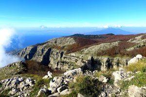 Panorama dalla cresta della Conocchia sul Faito