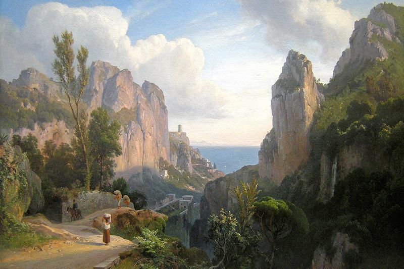 La Valle dei Mulini ad Amalfi in un dipinto di Carl Maria Nicolaus Hummel (1878)