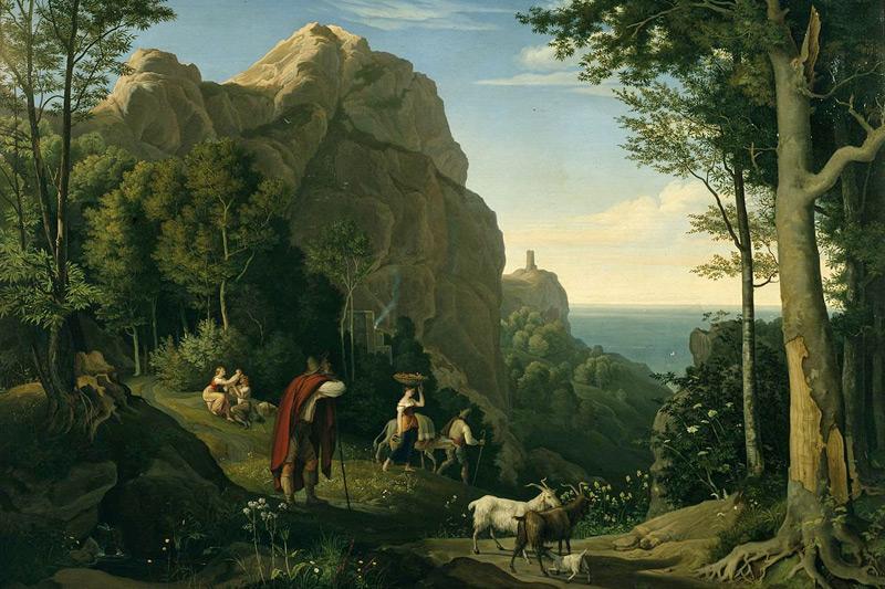 La Valle dei Mulini ad Amalfi in un dipinto di Ludwig Adrian Richter (1826)